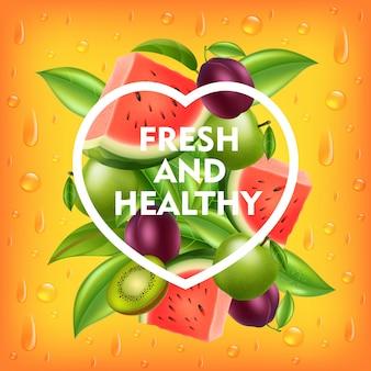 Fundo de frutas frescas e saudáveis