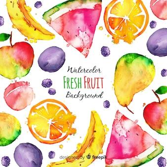 Fundo de frutas frescas em aquarela