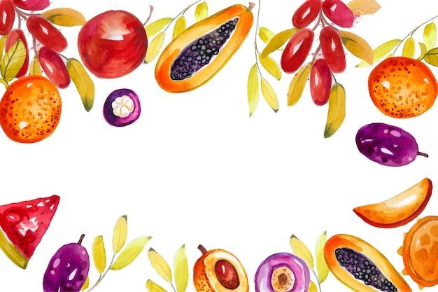 Fundo de frutas pintado à mão