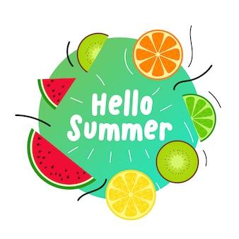 Fundo de frutas suculentas de verão