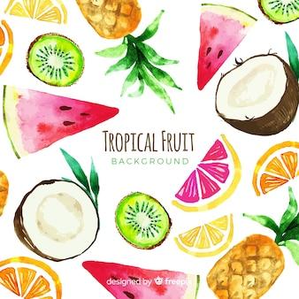 Fundo de frutas tropicais em aquarela