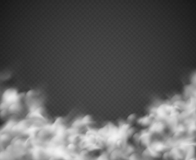 Fundo de fumo. névoa nuvens brancas fumando assustador empoeirado nevoeiro condensação textura transparente luz isolada no preto