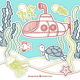 Fundo de fundo do mar de mão desenhada