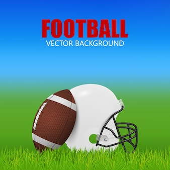 Fundo de futebol americano - capacete branco e bola em campo.