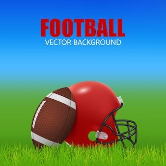Fundo de futebol americano - capacete vermelho e bola em campo.