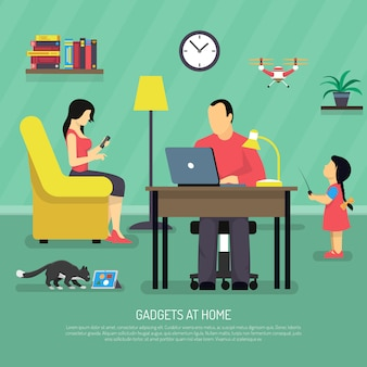 Fundo de gadgets digitais domésticos