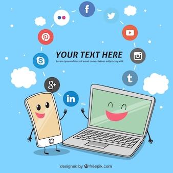 Fundo de gadgets tecnológicos com ícones sociais dos media