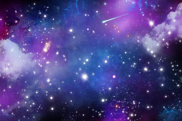 Fundo de galáxia aquarela pintado à mão com estrelas