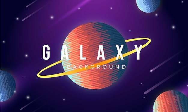 Fundo de galáxia com conceito de planetas coloridos