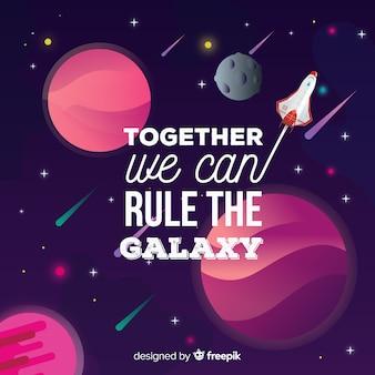 Fundo de galáxia com design de citação