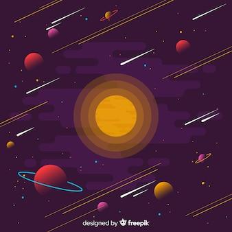 Fundo de galáxia com design plano
