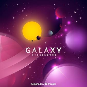 Fundo de galáxia com design realista