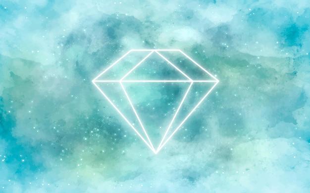 Fundo de galáxia com diamante em neon