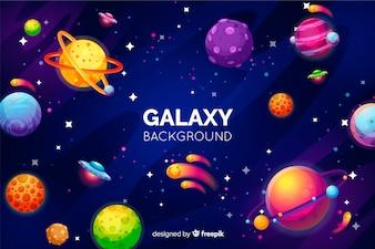 Fundo de galáxia com planetas coloridas