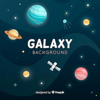 Fundo de galáxia com planetas diferentes