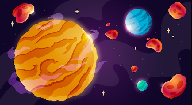 Fundo de galáxia de desenho animado