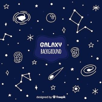 Fundo de galáxia de mão desenhada