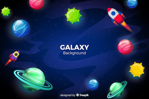 Fundo de galáxia de planetas coloridas