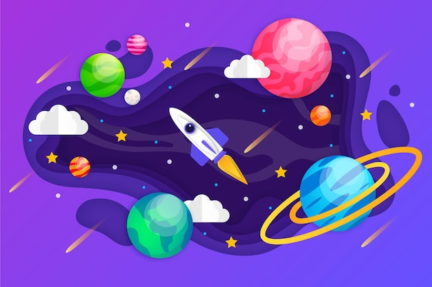 Fundo de galáxia em estilo de papel