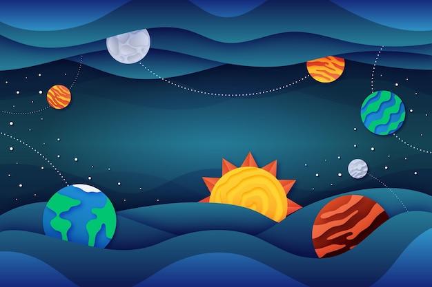 Fundo de galáxia em estilo papel com sol