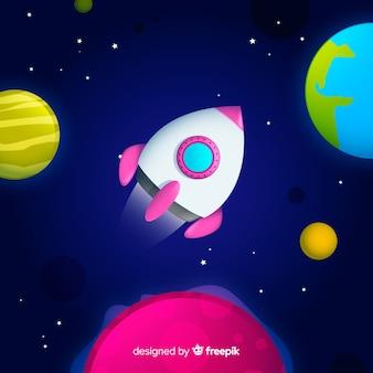Fundo de galáxia gradiente com um foguete