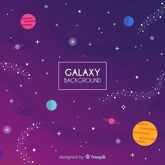 Fundo de galáxia linda com design plano