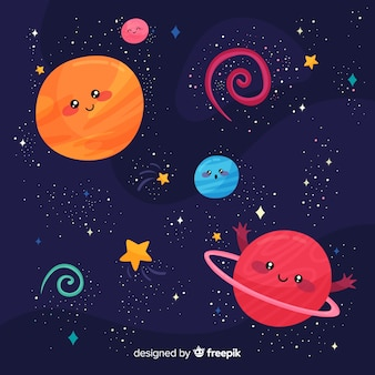 Fundo de galáxia linda mão desenhada