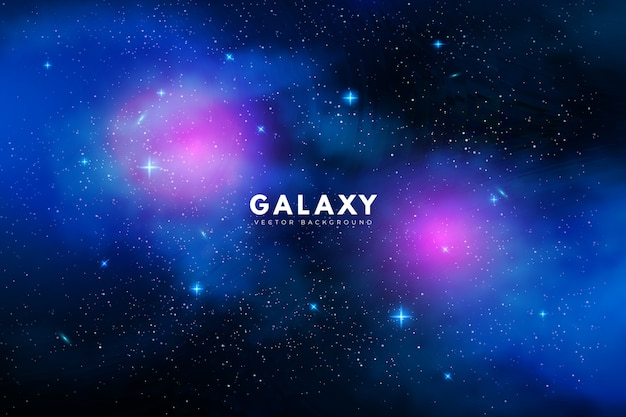Fundo de galáxia misteriosa com tons de roxos e azuis