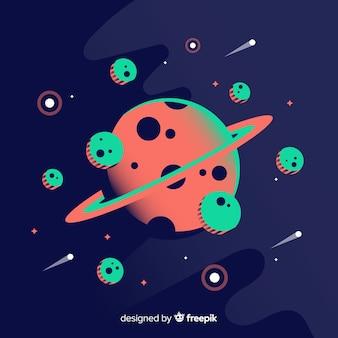 Fundo de galáxia moderna com design plano