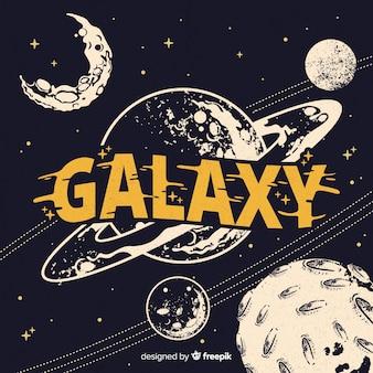 Fundo de galáxia moderna mão desenhada