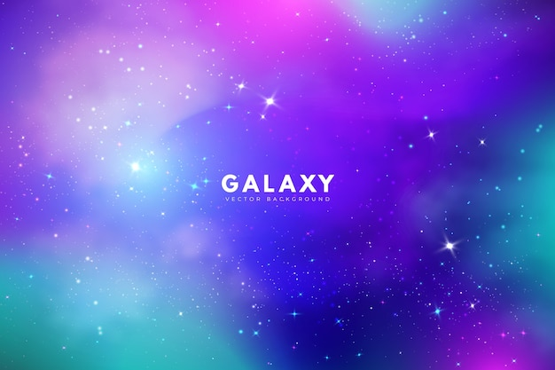 Fundo de galáxia multicolor com estrelas