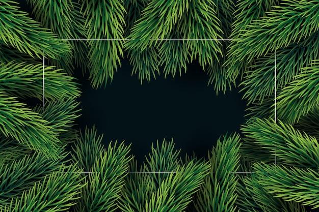 Fundo de galhos de árvore de natal de design plano