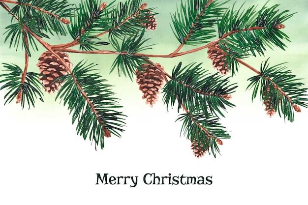 Fundo de galhos de árvore de natal em aquarela