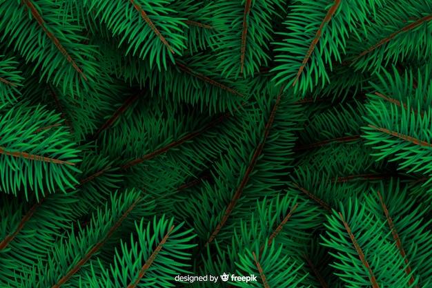 Fundo de galhos de árvore de natal realista