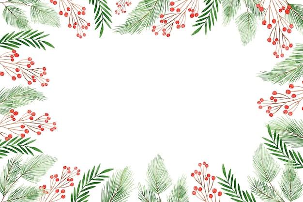 Fundo de galhos de árvores de natal em aquarela