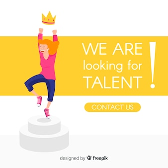 Fundo de garota feliz de pesquisa de talento