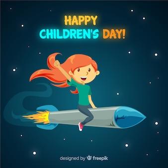 Fundo de garota foguete de dia das crianças