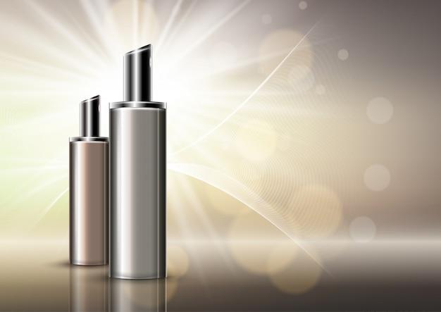 Fundo de garrafas de cosméticos em branco de luxo