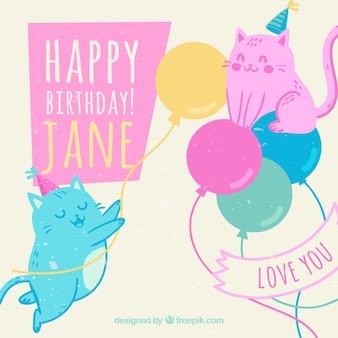 Fundo de gatinhos coloridos com balões de aniversário