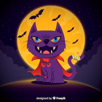 Fundo de gato assustador de halloween