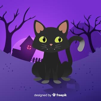 Fundo de gato bonito do dia das bruxas