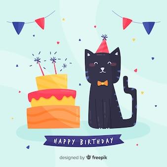 Fundo de gato de aniversário
