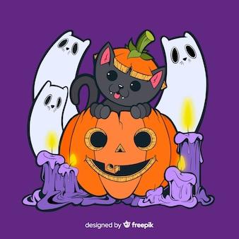 Fundo de gato de halloween de mão desenhada