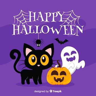 Fundo de gato de halloween em design plano