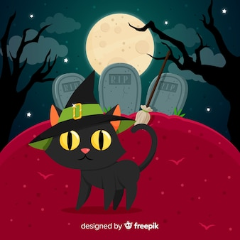 Fundo de gato de halloween no cemitério