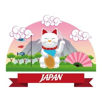 Fundo de gato sortudo japonês