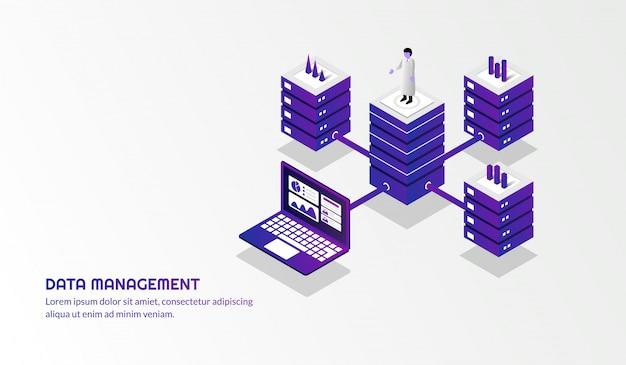 Fundo de gerenciamento de dados isométrico