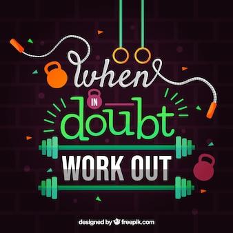 Fundo de ginásio com frase motivacional