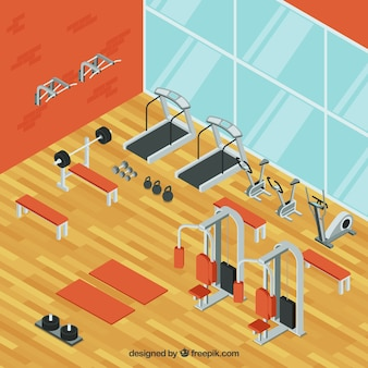 Fundo de ginásio com máquinas de exercício em estilo isométrico