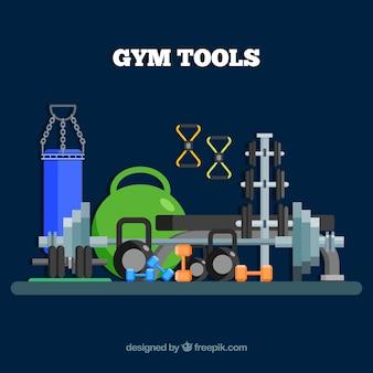 Fundo de ginásio de esporte com máquinas de exercício